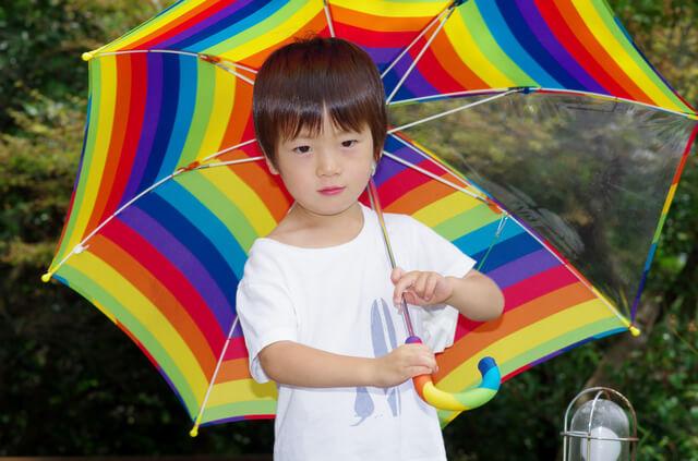 透明窓がついている傘をさす男の子,子ども,傘,
