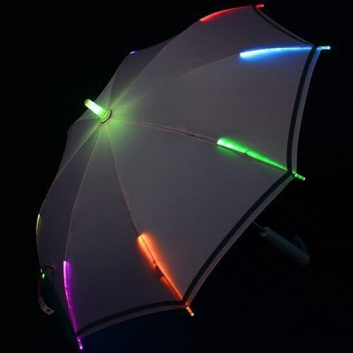 7色に光る LED 子供傘 反射テープ付き 47cm ピンク,子ども,傘,