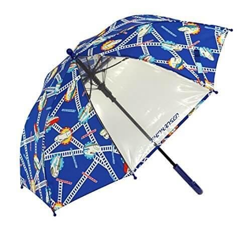 アテイン KIDS用ジャンプ傘 透明窓付 グラスファイバー骨使用 親骨50cm 新幹線 ネイビー 1286,子ども,傘,