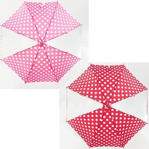 KidsForet キッズフォーレ 窓付きキッズアンブレラ 水玉 レッド M=50cm,子ども,傘,