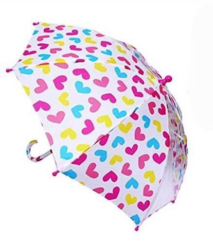 子供用傘  白×カラフルハート柄 2つ窓  キッズ傘 こども傘 女の子 通園 通学 入園 入学 雨傘 キッズアンブレラ 幼稚園 保育園 小学校,子ども,傘,