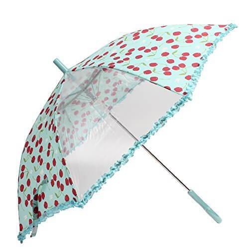 OLIVEdesOLIVE オリーブ デ オリーブ 53cm 雨傘「あふれるチェリーのアンブレラ」 (サックス),子ども,傘,