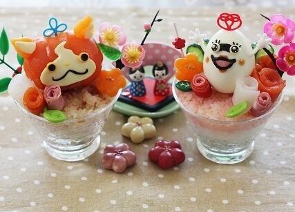 ジバニャンとウィスパーのひな祭りカップライス,ひな祭り,寿司,