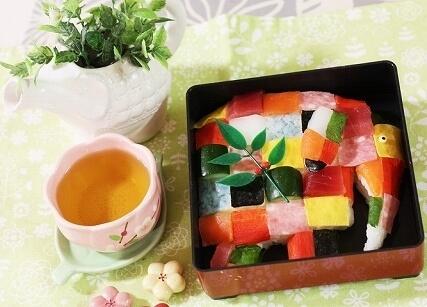 絵本のぞうのエルマーモザイク寿司,ひな祭り,寿司,