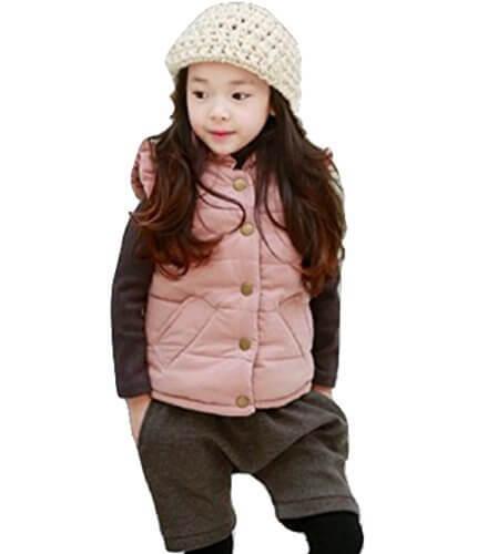 【SEBLES】 ガールズ キュート あったか ピンク ダウン ベスト カジュアル サイズ 100cm ~ 140cm クロスセット (ピンク,130),ダウンべスト,キッズ,
