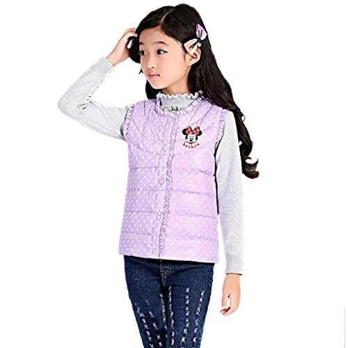 (Baoxinjp)女の子 ダウンジャンパー ダウンジャケット ベスト 袖なし 女児 キッズ 人気 ファッション 中綿 防寒  ガールズベスト 冬 パープル L,ダウンべスト,キッズ,