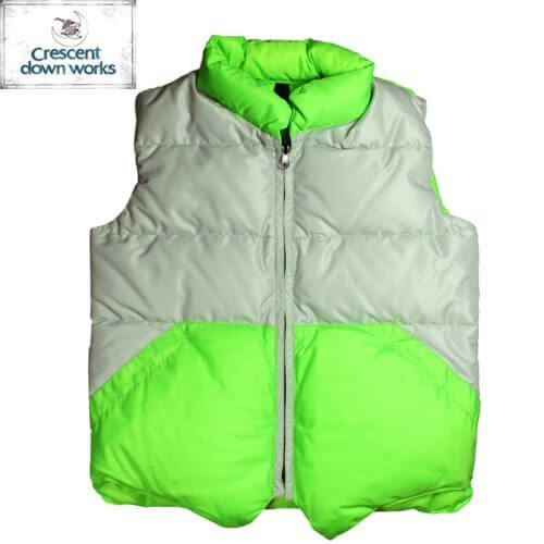 【CRESCENT DOWN WORKS】Kids Color Block Down Vest 【クレセント・ダウン・ワークス】キッズ カラーブロック ダウン ベスト ★SILVER/FL.GREEN 6(110),ダウンべスト,キッズ,