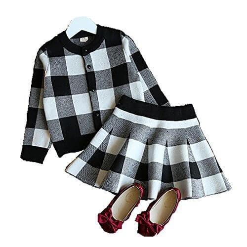 (ミニアウル)Miniowl チェック 長袖 ニットセーター スカート 上下セット 子供 女の子 ブラック 110,キッズ,ニット,