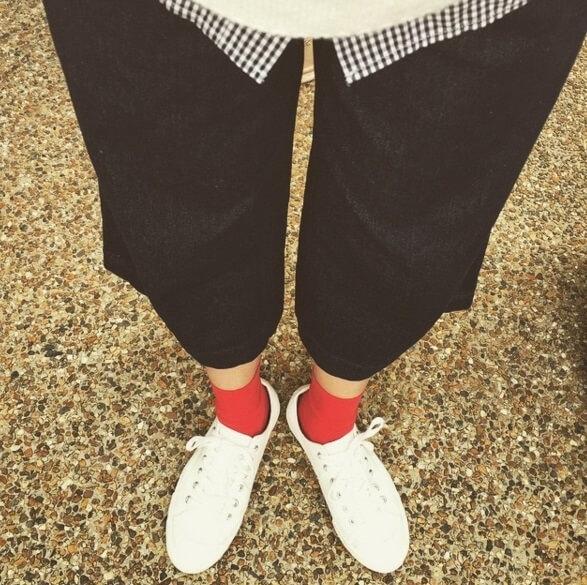 ガウチョパンツと,無印,靴,