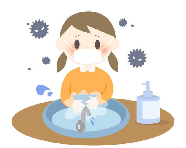 マスクをつけて手洗いをする女の子,肺炎,子ども,