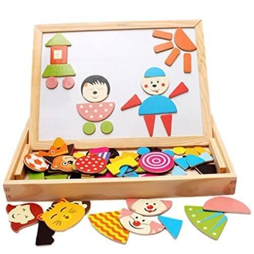 Happy Cherry 子供の知育玩具!木製 お絵かきボード 黒板 ホワイトボード 両面 ペン チョーク セット キャラクタ の マグネット 付き,お絵かきボード,おすすめ,人気