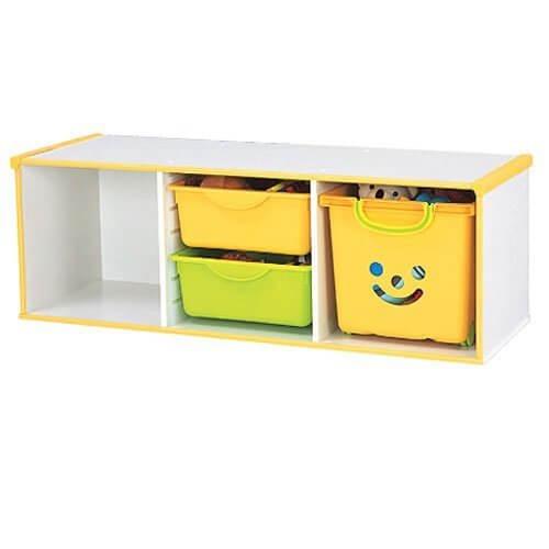 アイリスオーヤマ キッズコンセプト キッズカラーボックス引出しセット ホワイト/ペールイエロー,おもちゃ,収納,カラーボックス