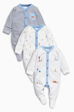ブルー シーサイド プリント パジャマ 3 枚パック,子供服,ネクスト,