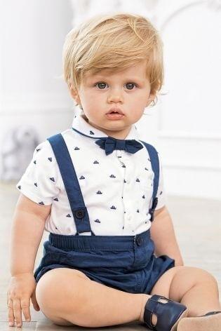 ブルー サスペンダー付き ショートパンツ 3 点セット,子供服,ネクスト,