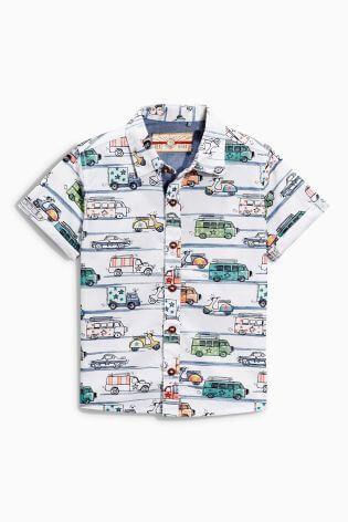 ホワイト 自動車プリント シャツ ,子供服,ネクスト,