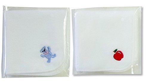 今治タオル×スマイリッシュ タオルハンカチガールズ2枚セット・名入れスペース付(りんご&くま),タオルハンカチ,
