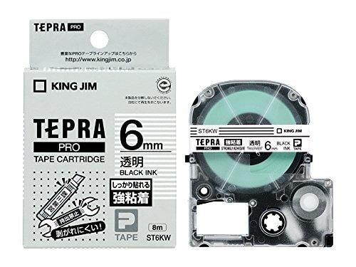 キングジム テープカートリッジ テプラPRO 強粘着 6mm 透明 ST6KW,テプラ,