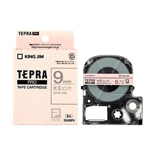 キングジム テプラPRO テープカートリッジ 模様ラベル 9mm 水玉ピンク/グレー文字 SWM9PH,テプラ,