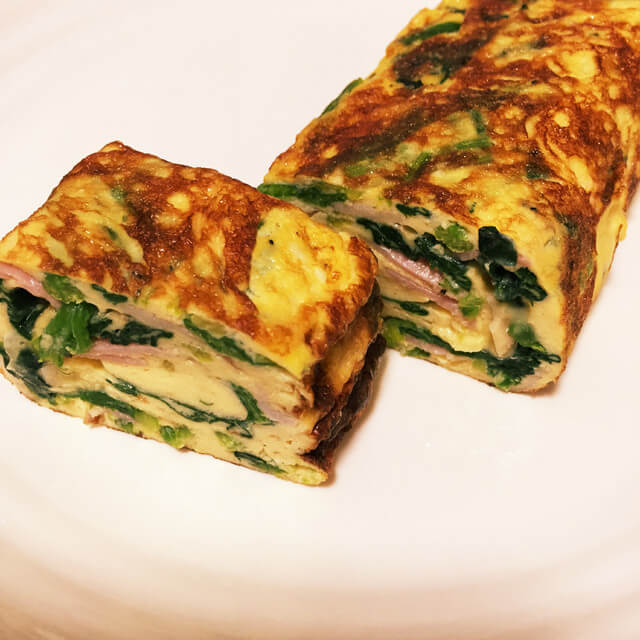 【お弁当】ほうれん草とベーコンの玉子焼き,お弁当,卵,レシピ
