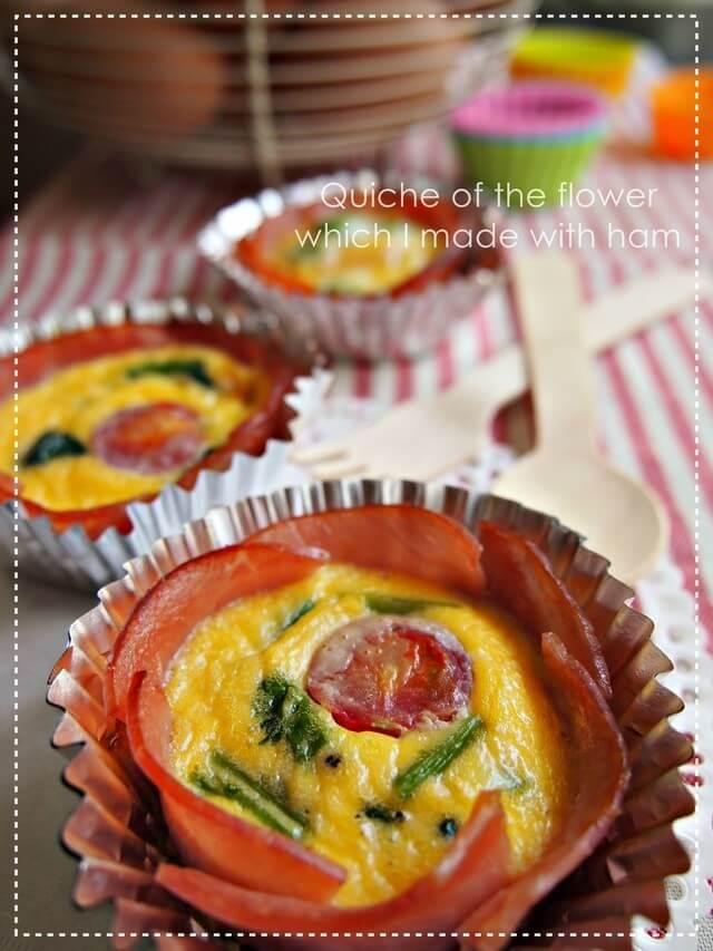 お弁当に✿お花カップdeキッシュ,お弁当,卵,レシピ