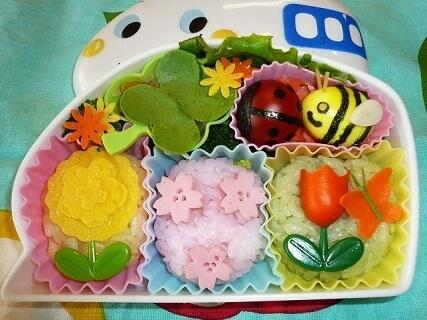 春の花のおかず弁当,キャラ弁,簡単,