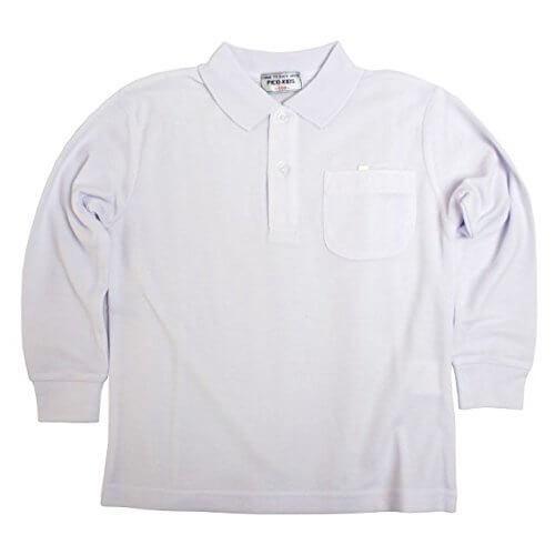 長袖ポロシャツ 子供 キッズ 男の子 女の子 白 無地 鹿の子 長袖 ポロシャツ ホワイト-キッズ 130cm,キッズ,ポロシャツ,