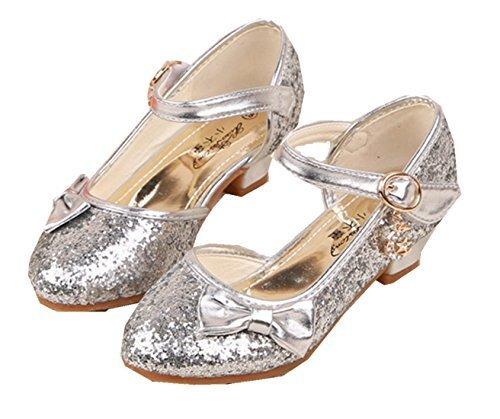 GoGokids 子供靴 女の子 ガールズ キッズシューズ フォーマル パンプス 子供フォーマル靴 フラワーガールズ シューズ 女の子 子供靴シューズ発表会 結婚式 入学式 入園式 子供スーツやドレスと合わせて (シルバー),キッズサンダル,女の子,