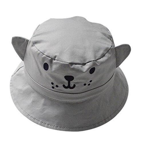 (コ-ランド) Co-land ベビー用ハット 赤ちゃんキャップ キッズ帽子 子供サンバイザー アザラシ造型 リバーシブル チェック柄 男の子 男児 帽子 UVカット グレー,キッズ,子供,帽子