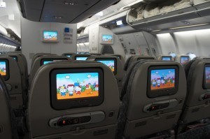 座席のモニター,飛行機,幼児,海外旅行