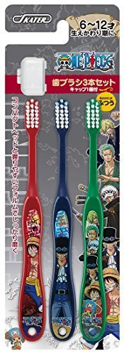 SKATER キャップ付 歯ブラシ ワンピース 15 小学生用 6-12才 毛の硬さ普通 3本組 TB6T,ワンピース,魅力,ONE PIECE