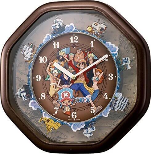 リズム時計 ONE PIECE (ワンピース) からくり掛け時計 茶色メタリック色 4MH880-M06,ワンピース,魅力,ONE PIECE