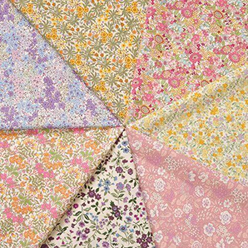 小花柄 カットクロス 福袋 約53cm×28cmが7枚 ブロード綿生地【9884】,シュシュ,手作り,