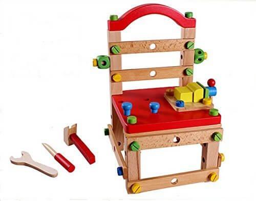 Hostar® 木製ボルトとドライバーで椅子を作ろう! 子供 木のおもちゃ 組み立て工具 大工さんセット 幼児 キッズ 1歳から ねじ遊び 知育おもちゃ,おもちゃ,1歳,