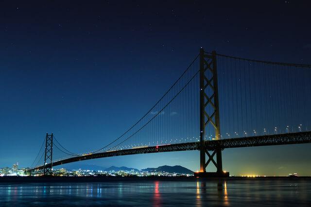 夜の明石海峡大橋,明石,ランチ,