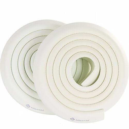 HIGASHI コーナーガード コーナークッション 2M×2本 8色 両面テープ付 国内検査済 赤ちゃん 舐めても安心 かじれる けが防止スタンダード ホワイト,赤ちゃん,転倒防止,