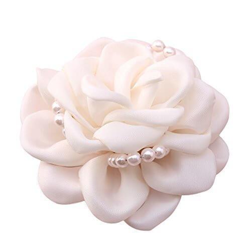コサージュ 手作り エレガント薔薇花コサージュ シュシュ パーティー フォーマルパーテ(WHITE),入園式,ママ,おしゃれ