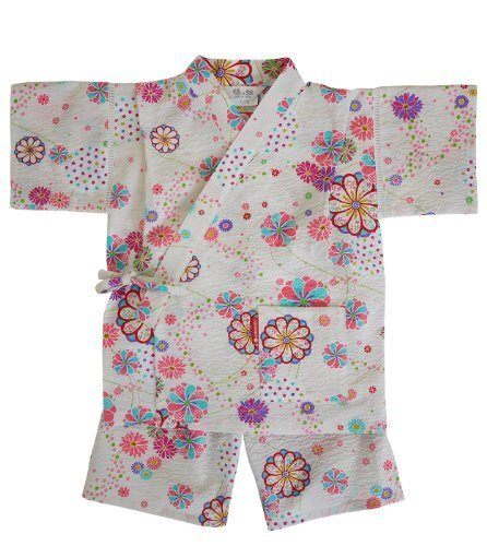 日本製 綿の郷 女の子用リップル生地甚平 じんべい 子供 (90, オフホワイト),子供用,甚平,