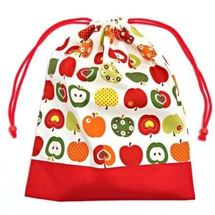 お着替えラクラク巾着(大サイズ)・体操服袋 おしゃれリンゴのひみつ(アイボリー) × オックス・赤 日本製 N3361300,体操着袋,