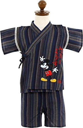 (ディズニー)Disney 男の子80-120cm ミッキーマウス しじら織り甚平 上下セット【31243】 80cm ネイビー,子供用,甚平,