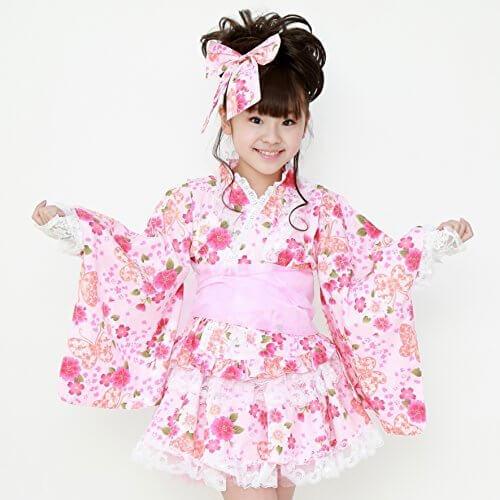 【浴衣ドレス5点セット】「可愛さ際立つ和柄&レース2016」盆踊り 子供 オリジナル浴衣 セット・お祭り ゆかたセパレート上下セット 帯・髪飾り・巾着セット (120, ピンク),子供用,甚平,
