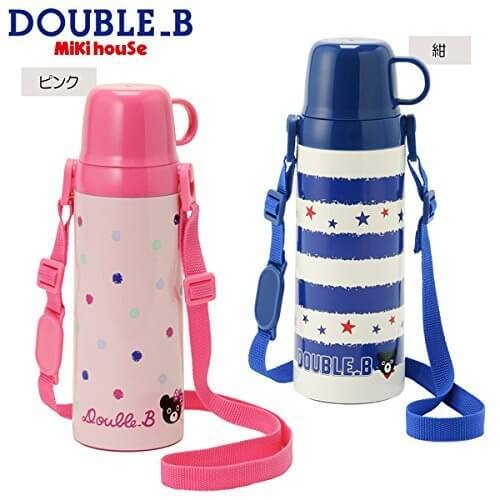 mikihouse Double_B(ミキハウスダブルB)ハンドル式コップ付き 直飲み2WAYステンレスボトル(水筒)(600ml) ---,ピンク,ステンレス水筒,キッズ,