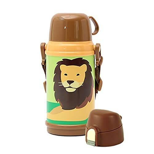 【限定デザイン】ドウシシャ CALDO-Colors ( カルドカラーズ ) 2WAY キッズボトル 600ml (ライオン),ステンレス水筒,キッズ,