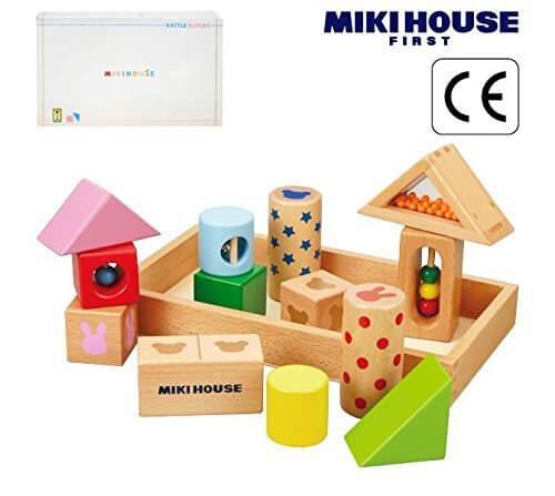 ミキハウス包装紙でラッピング済み ミキハウス 音が鳴る積み木 ラトルブロック 46-1239-786 mikihouse,積み木,