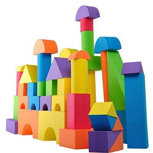 積み木 ブロック EVA素材 かるくてふんわりつみき100積木ピース新観念建築おもちゃ 倒れても痛くない多色 DIY手作り知育 玩具 収納バック付き やわらかつみき ブロック EVA ソフトKingstar男の子 女の子 贈り物 誕生日プレゼント 出産祝い,積み木,