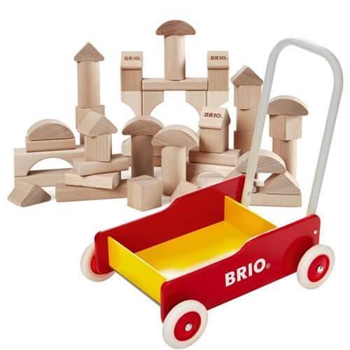 BRIO 手押し車(赤)+つみき50ピース 数量限定セット,積み木,
