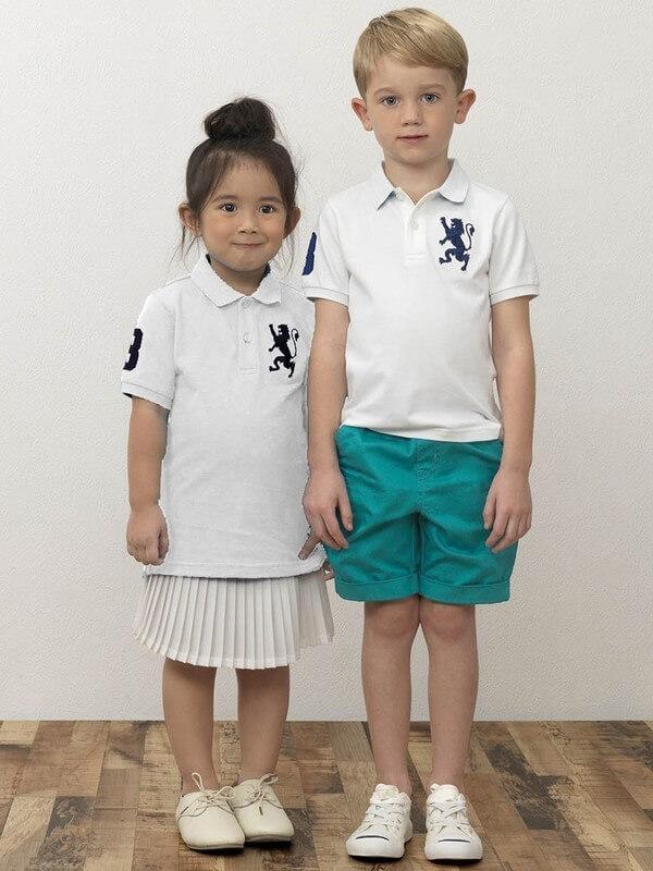 KIDS 3Dライオン刺繍ポロシャツ,GIORDANO,ポロシャツ,