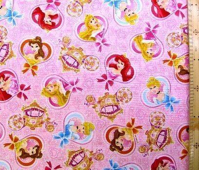 キャラクター生地・ディズニープリンセス(ピンク)#49,キャラクター,生地,