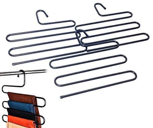 【KUENTAI】S字型 スラックス ハンガー 1本でクローゼットすっきり しわになりにくい パンツ ズボン スカート 整理整頓 収納 衣類 (3本),子供服,収納,