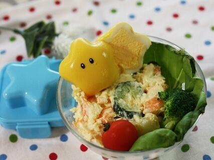 ゆで卵で黄色いスターのサラダ,七夕,料理,