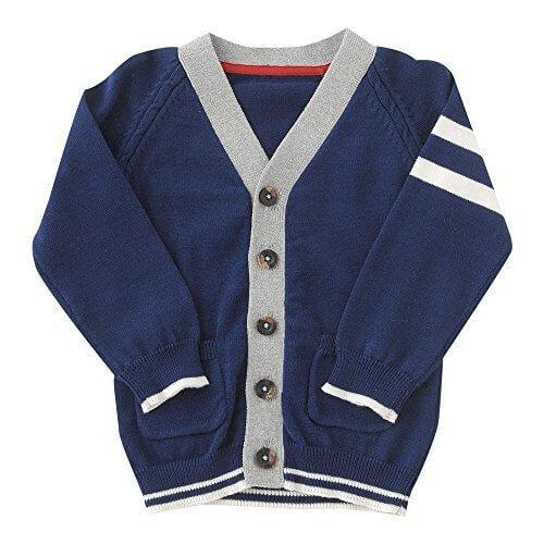 (チャックル) chuckle *ボンシュシュ*カレッジ風ニットカーディガン ブルー 70cm P3305-70-31,赤ちゃん,カーディガン,